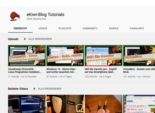 eKiwi-Blog-Tutorials Youtube Kanal
